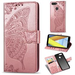 Embossing Mandala Flower Butterfly Leather Wallet Case for Huawei Y6 (2018) - Rose Gold