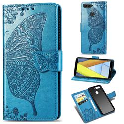 Embossing Mandala Flower Butterfly Leather Wallet Case for Huawei Y6 (2018) - Blue