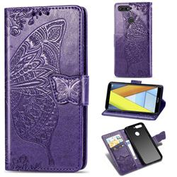 Embossing Mandala Flower Butterfly Leather Wallet Case for Huawei Y6 (2018) - Dark Purple