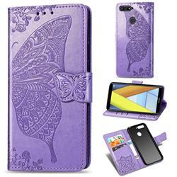 Embossing Mandala Flower Butterfly Leather Wallet Case for Huawei Y6 (2018) - Light Purple
