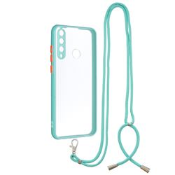 Necklace Cross-body Lanyard Strap Cord Phone Case Cover for Huawei Y6p - Blue