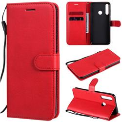 Retro Greek Classic Smooth PU Leather Wallet Phone Case for Huawei Y6p - Red