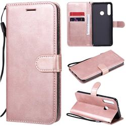 Retro Greek Classic Smooth PU Leather Wallet Phone Case for Huawei Y6p - Rose Gold