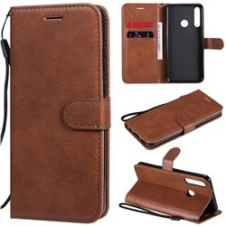 Retro Greek Classic Smooth PU Leather Wallet Phone Case for Huawei Y6p - Brown