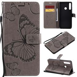 Embossing 3D Butterfly Leather Wallet Case for Huawei Y6p - Gray