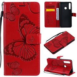 Embossing 3D Butterfly Leather Wallet Case for Huawei Y6p - Red