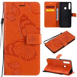 Embossing 3D Butterfly Leather Wallet Case for Huawei Y6p - Orange
