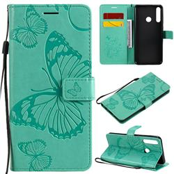 Embossing 3D Butterfly Leather Wallet Case for Huawei Y6p - Green