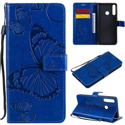 Embossing 3D Butterfly Leather Wallet Case for Huawei Y6p - Blue