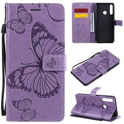 Embossing 3D Butterfly Leather Wallet Case for Huawei Y6p - Purple