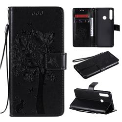 Embossing Butterfly Tree Leather Wallet Case for Huawei Y6p - Black