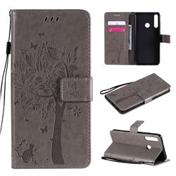 Embossing Butterfly Tree Leather Wallet Case for Huawei Y6p - Grey
