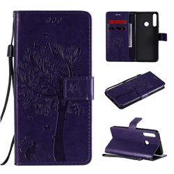 Embossing Butterfly Tree Leather Wallet Case for Huawei Y6p - Purple