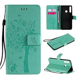 Embossing Butterfly Tree Leather Wallet Case for Huawei Y6p - Cyan