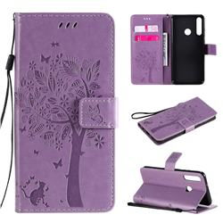 Embossing Butterfly Tree Leather Wallet Case for Huawei Y6p - Violet