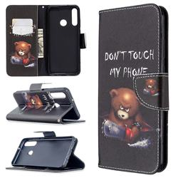 Chainsaw Bear Leather Wallet Case for Huawei Y6p