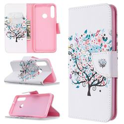 Colorful Tree Leather Wallet Case for Huawei Y6p
