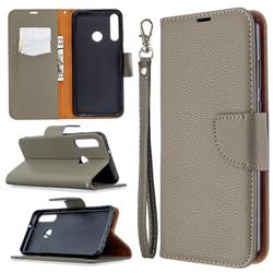 Classic Luxury Litchi Leather Phone Wallet Case for Huawei Y6p - Gray