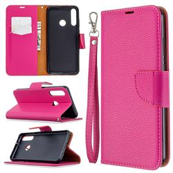 Classic Luxury Litchi Leather Phone Wallet Case for Huawei Y6p - Rose