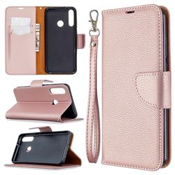 Classic Luxury Litchi Leather Phone Wallet Case for Huawei Y6p - Golden