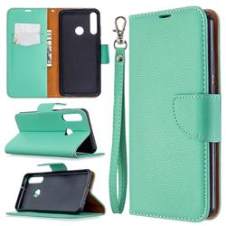 Classic Luxury Litchi Leather Phone Wallet Case for Huawei Y6p - Green