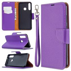 Classic Luxury Litchi Leather Phone Wallet Case for Huawei Y6p - Purple