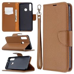 Classic Luxury Litchi Leather Phone Wallet Case for Huawei Y6p - Brown