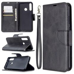 Classic Sheepskin PU Leather Phone Wallet Case for Huawei Y6p - Black