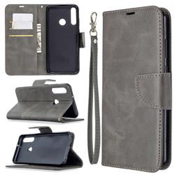 Classic Sheepskin PU Leather Phone Wallet Case for Huawei Y6p - Gray