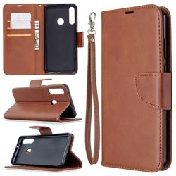 Classic Sheepskin PU Leather Phone Wallet Case for Huawei Y6p - Brown