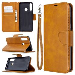 Classic Sheepskin PU Leather Phone Wallet Case for Huawei Y6p - Yellow