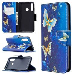 Golden Butterflies Leather Wallet Case for Huawei Y6p