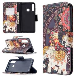 Totem Flower Elephant Leather Wallet Case for Huawei Y6p