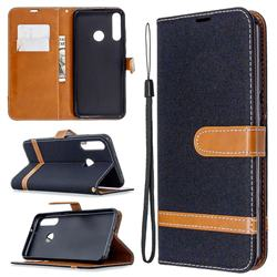 Jeans Cowboy Denim Leather Wallet Case for Huawei Y6p - Black