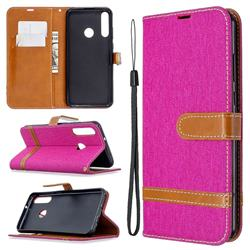 Jeans Cowboy Denim Leather Wallet Case for Huawei Y6p - Rose