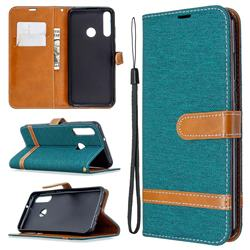 Jeans Cowboy Denim Leather Wallet Case for Huawei Y6p - Green