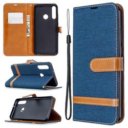 Jeans Cowboy Denim Leather Wallet Case for Huawei Y6p - Dark Blue