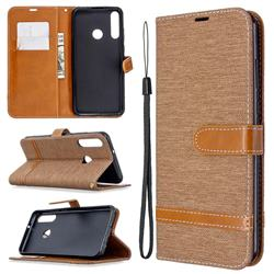 Jeans Cowboy Denim Leather Wallet Case for Huawei Y6p - Brown