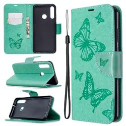 Embossing Double Butterfly Leather Wallet Case for Huawei Y6p - Green