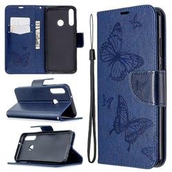 Embossing Double Butterfly Leather Wallet Case for Huawei Y6p - Dark Blue