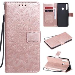 Embossing Sunflower Leather Wallet Case for Huawei Y6p - Rose Gold