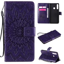 Embossing Sunflower Leather Wallet Case for Huawei Y6p - Purple