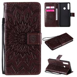 Embossing Sunflower Leather Wallet Case for Huawei Y6p - Brown