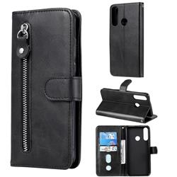 Retro Luxury Zipper Leather Phone Wallet Case for Huawei Y6p - Black