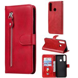 Retro Luxury Zipper Leather Phone Wallet Case for Huawei Y6p - Red
