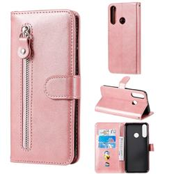 Retro Luxury Zipper Leather Phone Wallet Case for Huawei Y6p - Pink