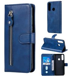 Retro Luxury Zipper Leather Phone Wallet Case for Huawei Y6p - Blue