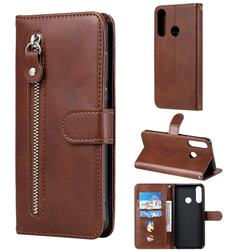 Retro Luxury Zipper Leather Phone Wallet Case for Huawei Y6p - Brown