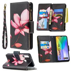 Lotus Flower Binfen Color BF03 Retro Zipper Leather Wallet Phone Case for Huawei Y6p