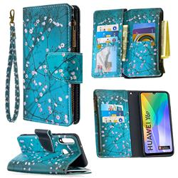 Blue Plum Binfen Color BF03 Retro Zipper Leather Wallet Phone Case for Huawei Y6p